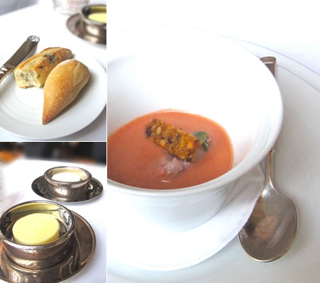 Crusty Bread (TL), Choices of Butter (BL), Strawberry Gazpacho (R)