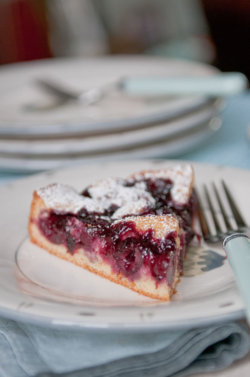 Brandy Cherry Almond Cake | Hungry Rabbit