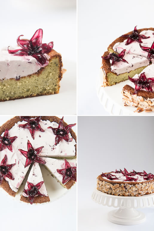 rock my world – matcha white chocolate cake w hibiscus cream (gf)
