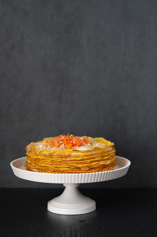 conscious shifting – carrot crêpe cake w pineapple cream