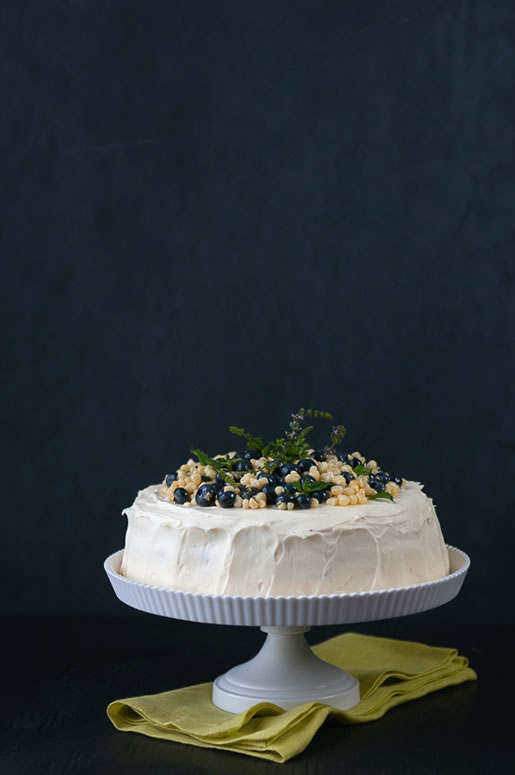 just the way I am – blueberry corn cake with sweet corn frosting