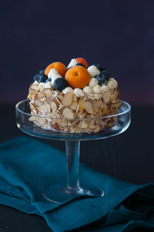 my maine thing – blueberry apricot cake w vanilla cream frosting